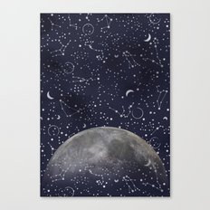 Mystic Galaxy Constellation Moon Stars and Cosmic Space White Canvas Print