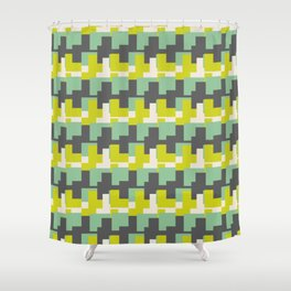 Geometric Camo Green lime pattern Shower Curtain
