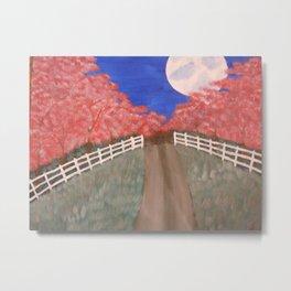 Cherry Blossom Pathway Metal Print