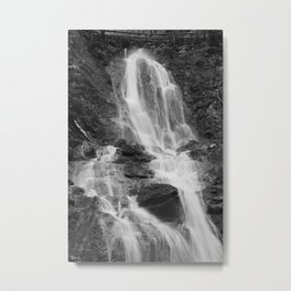 Waterfall, black and white photo Metal Print