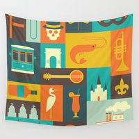 new orleans Wall Tapestries featuring New Orleans by Ariel Wilson
