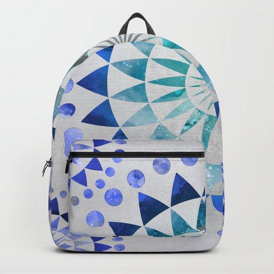 Mandala Pattern blue and turquoise Backpack