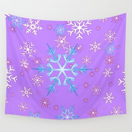LILAC PURPLE WINTER SNOWFLAKES Wall Tapestry