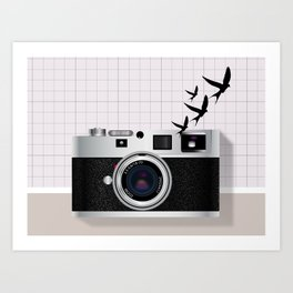 vintage camera and birds Art Print