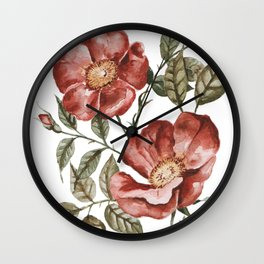 Red Floral Painting Wall Clock