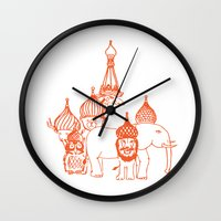 moscow Wall Clocks featuring Moscow by OneOneTwo