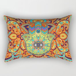 Colorful  Hamsa Hand -  Hand of Fatima Rectangular Pillow
