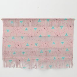80's pretty in pink w/ turquoise triangles & green leaves Wall Hanging