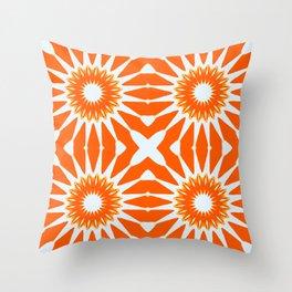 Orange Pinwheel Flowers Throw Pillow