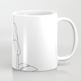 Minimal Line Art Woman with Tropical Leaves Coffee Mug