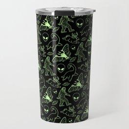Cryptid Pattern: Green Lines Travel Mug