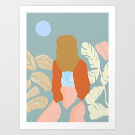 Moon Beam Girl Art Print