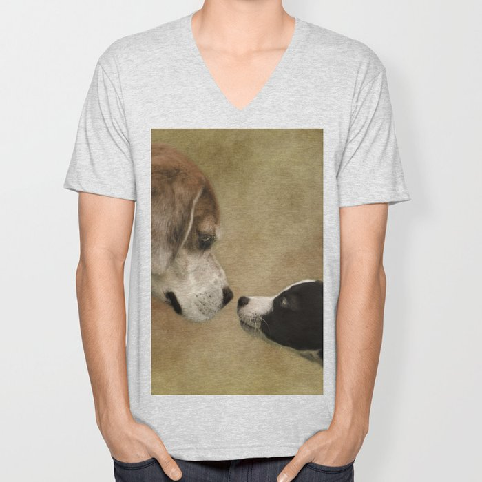 Nose To Nose Dogs Unisex V-Neck