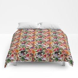Vintage Butterfly Rabbit Garden Floral Watercolor Comforters