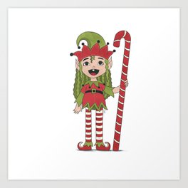 Christmas elf Art Print