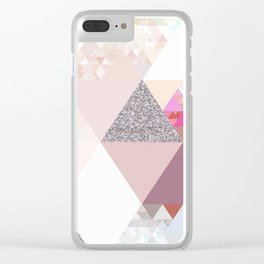 Triangles in glittering Rose quartz - pink glitter triangle pattern Clear iPhone Case