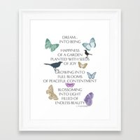 poem Framed Art Prints featuring Dream Poem by Zen and Chic