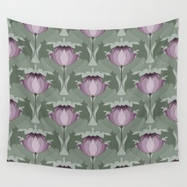 Lavender Flowers Art Nouveau Inspired Floral Pattern Wall Tapestry