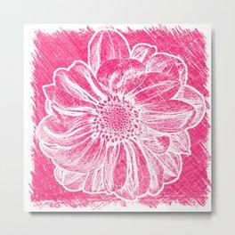 White Flower On Pink Crayon Metal Print