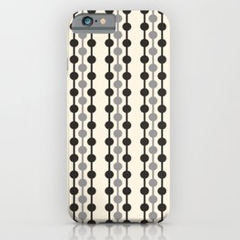 Geometric Droplets Pattern Series in Black Gray Cream iPhone Case