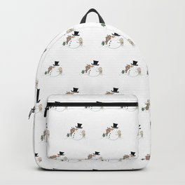 Happy Christmas Snowman Illustration Backpack