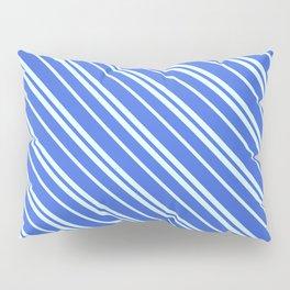 Royal Blue and Light Cyan Colored Stripes Pattern Pillow Sham