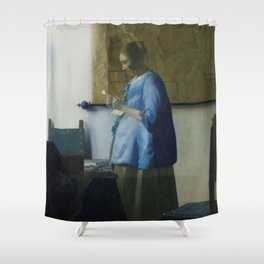 Letter reading woman - Johannes Vermeer (ca. 1663) Shower Curtain