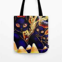 Three Halloween Cats Tote Bag
