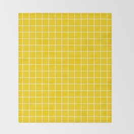 School bus yellow - yellow color -  White Lines Grid Pattern Throw Blanket