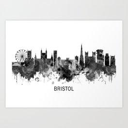 Bristol England skyline BW Art Print