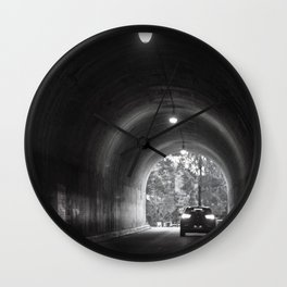 Travel photography through the tunnel black & white Wall Clock