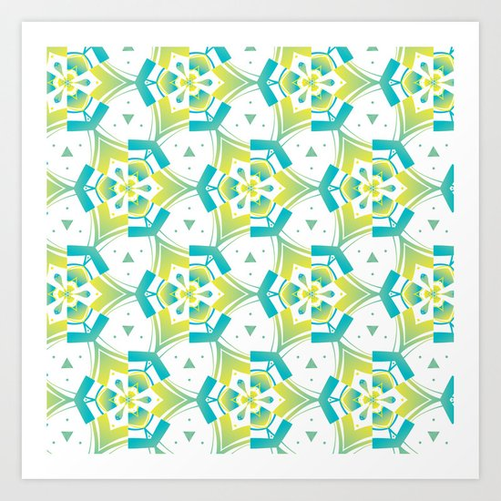 Yellow&blue Art Print