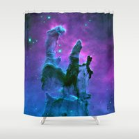 nebula Shower Curtains featuring Nebula Purple Blue Pink by 2sweet4words Designs