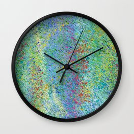 Confetti Spatter Abstract, Teal, Purple, Green Wall Clock
