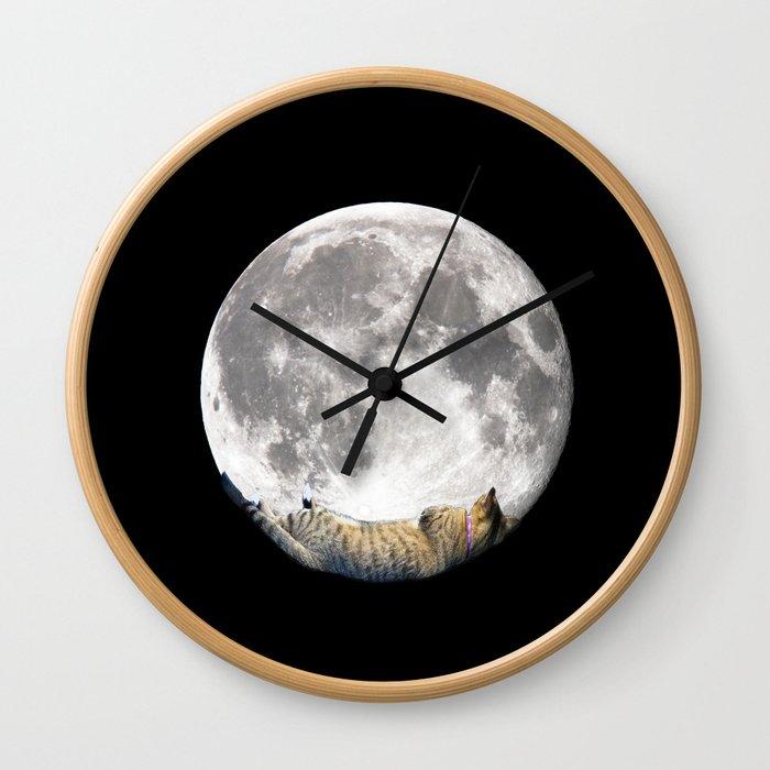 Sleeping cat with the Moon Wall Clock