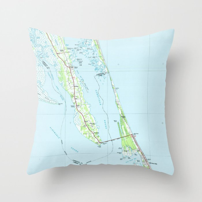 Northern Outer Banks North Carolina Map (1985) Throw Pillow by bravuramedia