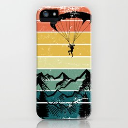 Paragliding Retro Mountains iPhone Case