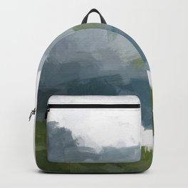 Gray Blue Lake White Clouds Green Mountain Reflection Abstract Nature Painting Art Print Wall Decor  Backpack