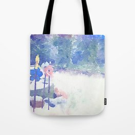 flowers in the snow Tote Bag
