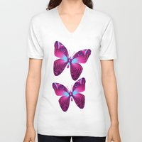 hot pink V-neck T-shirts featuring The hot pink Butterfly by thea walstra