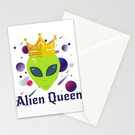 Alien Head Queen Funny Gifts Stationery Cards