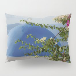 Blue dome church and flowers in Santorini, Greece Pillow Sham
