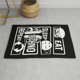 Eat Sleep Techno Repeat - Party Electronic Music Rug