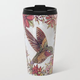 Hummingbird In Flowery Garden Wreath Travel Mug
