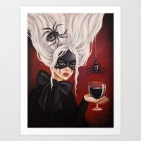 black widow Art Prints featuring Black widow by Black Fury