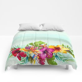 Tropical Summer Flowers 2 Comforters