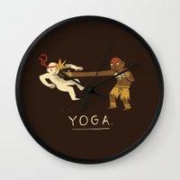yoga Wall Clocks featuring yoga. by Louis Roskosch