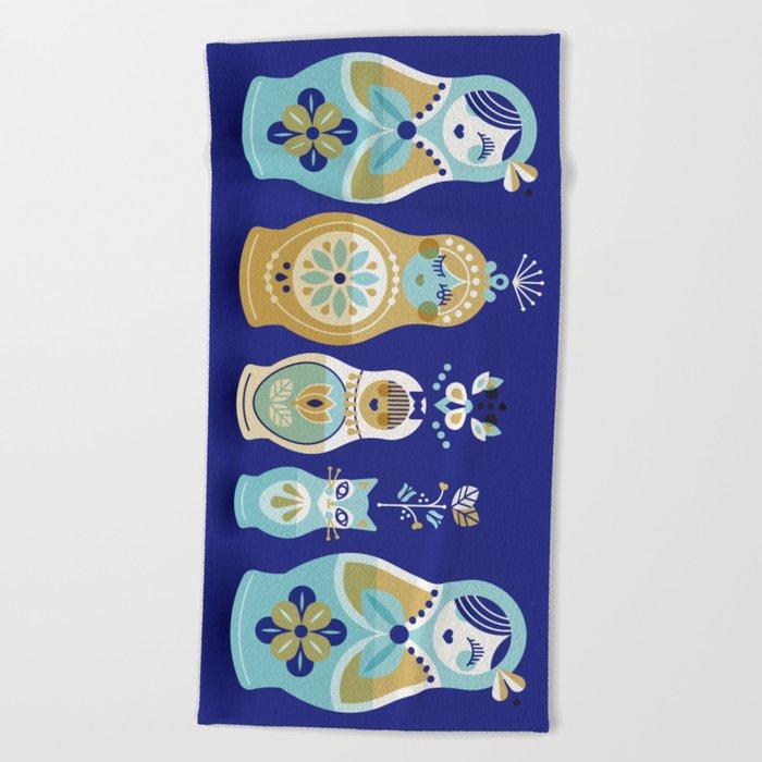 Russian Nesting Dolls – Navy Beach Towel