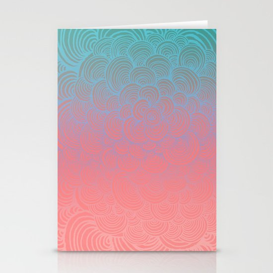 Ombre Clam Shells - Mint, Peach, Purple and Pink Stationery Cards
