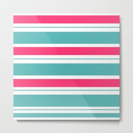 Turquoise And Fuschia Hot Pink Stripes Metal Print